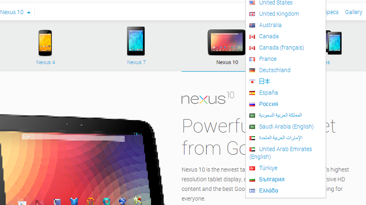 India missing from Nexus 10