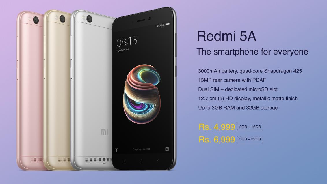 08177191723 Xiaomi Redmi 5A Officially Unveiled in India for Rs. 4