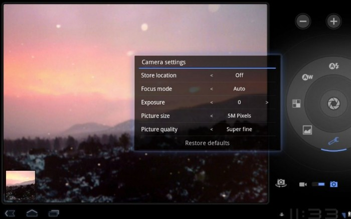 Camera app on Android 3.0