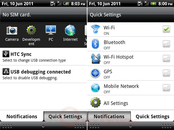 HTC Wildfire S Notification Bar
