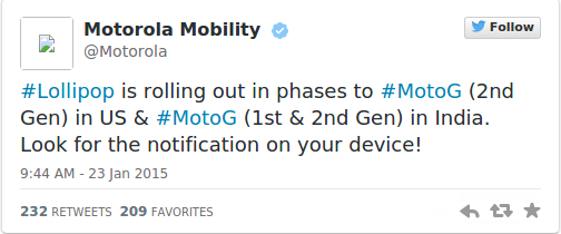 Motorola Lollipop upgrade