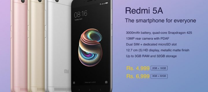 Xiaomi Redmi 5A Officially Unveiled in India for Rs. 4,999
